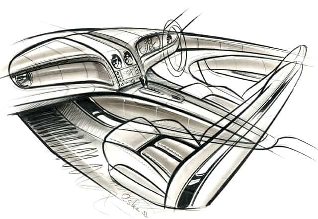 sketch of the bentley continental flying spur interior by robin page c 2005 form trends. Black Bedroom Furniture Sets. Home Design Ideas